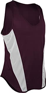 product image for TR-522-CB Men's Performance Sprint Single Ply Lightweight Singlet with Panels (Small, Maroon/White)