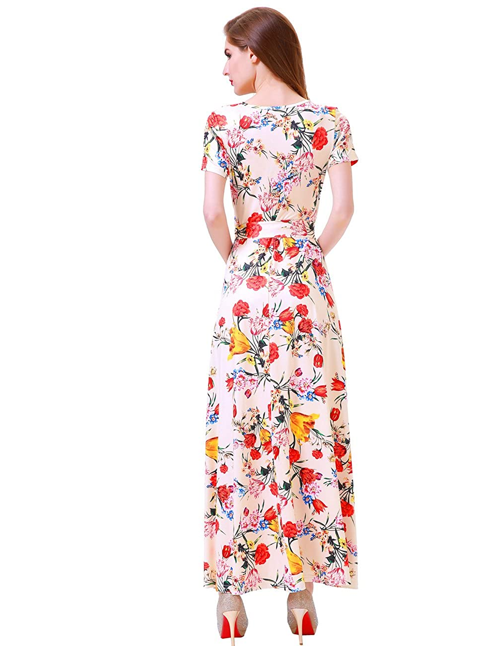 18ff274570 Melynnco Women's Short Sleeve Faux Wrap V Neck Cute Summer Floral Maxi Dress  at Amazon Women's Clothing store: