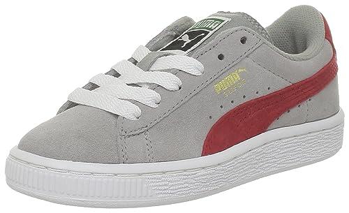 8b8988cdc30 PUMA Suede Kids 355116 Gris (05Limestone Gray-Red) - Zapatillas de ante para  niños