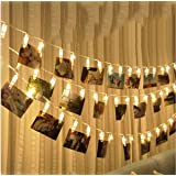 FUNCOCO Led Photo Clip Remote String Lights, LED Battery Operated Fairy String Lights (Warm White, S)
