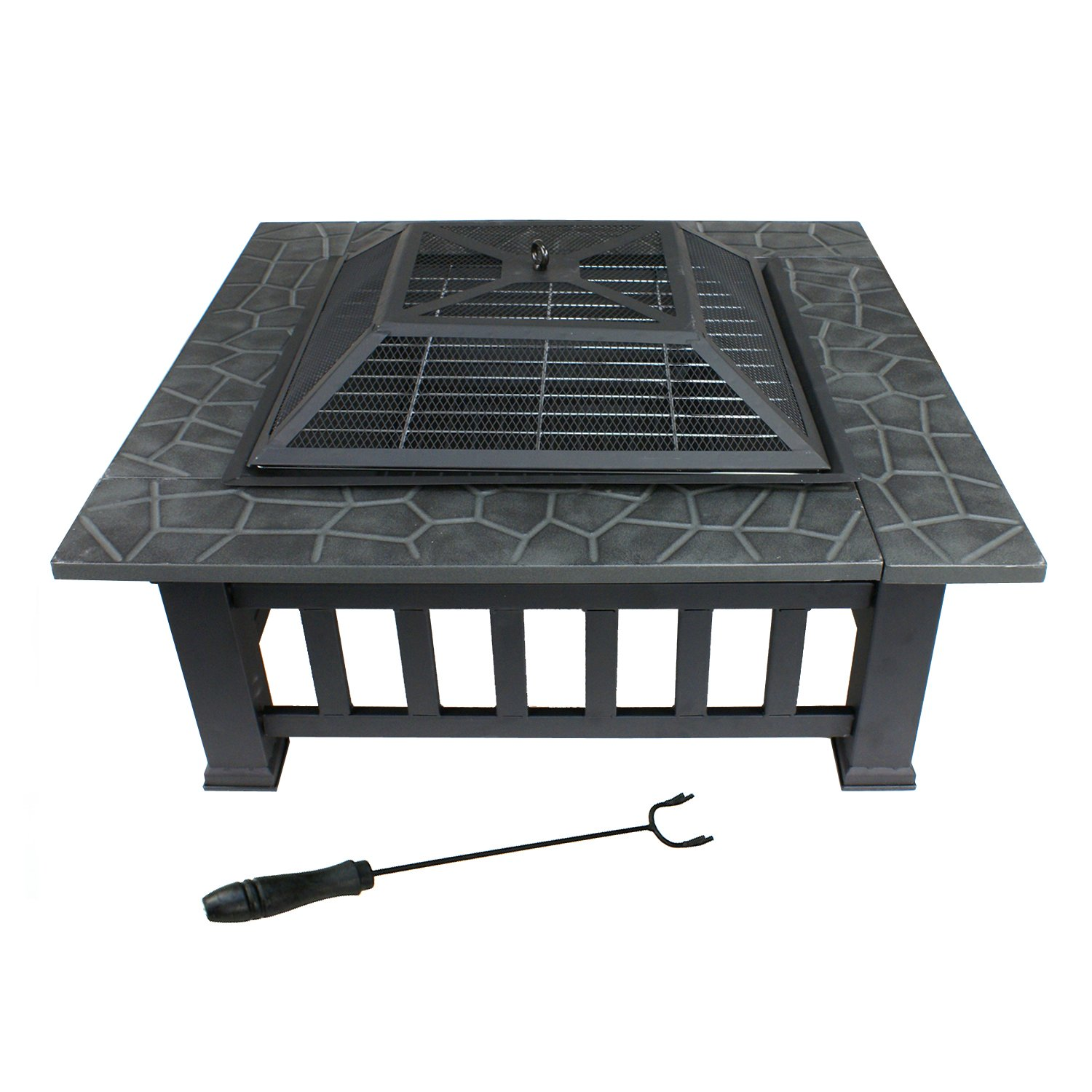 Amazon.com: 32'' Metal Firepit Outdoor Backyard Patio Garden ...