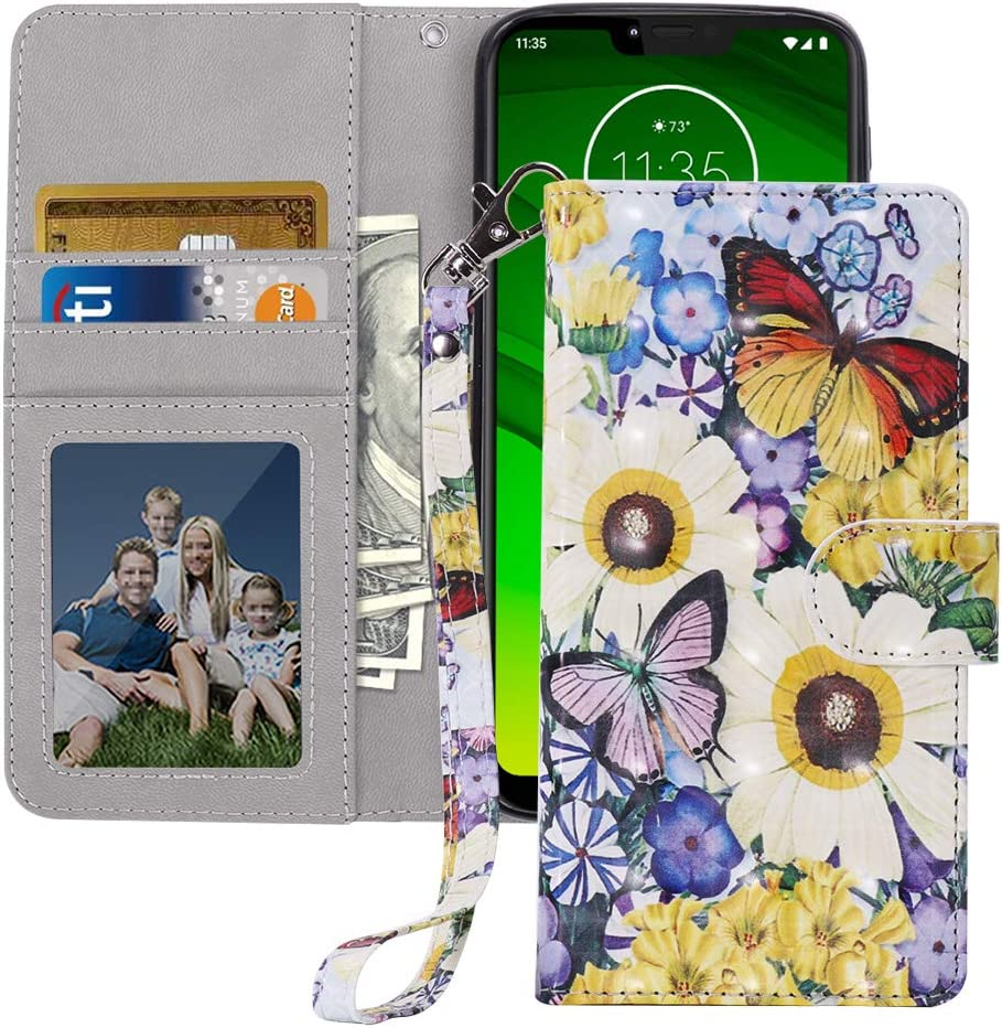 MagicSky Moto G7 Power Wallet Case, [Upgrade Cat Eye Texture] PU Leather Flip Folio Case Cover with Strap, Card Holder, Pocket, Kickstand for Moto G7 Power/G7 Supra/ G7 Optimo,Butterfly Over Flower