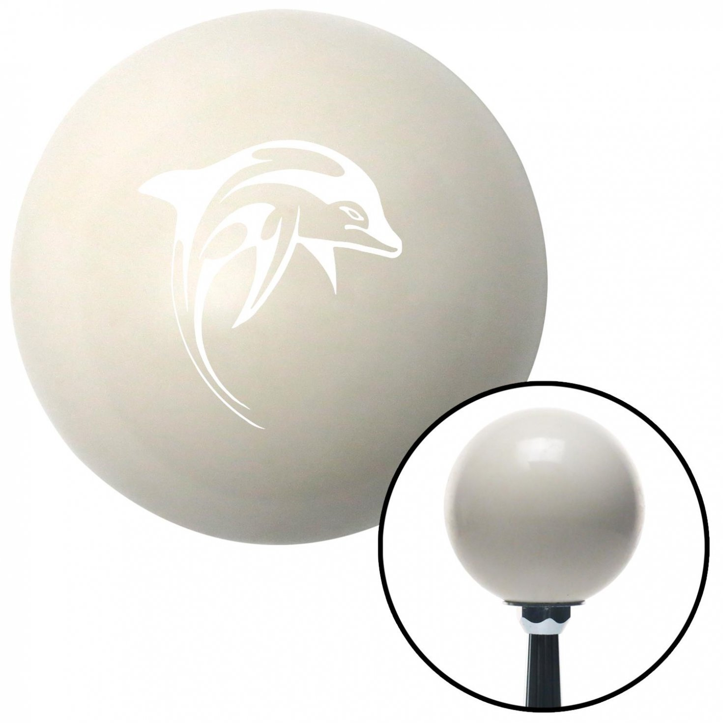 American Shifter 34841 Ivory Shift Knob with 16mm x 1.5 Insert White Artistic Dolphin