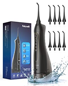Water Flosser, Fairywill 300ML Cordless Portable Dental Oral Irrigator, 3 Modes and 8 Jet Tips, IPX7 Waterproof, USB Charged for 3-weeks Continuously Use, Water Pick Teeth Cleaner for Travel, Home