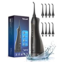 Water Flossers for Teeth, Fairywill 300ML CordlessDentalOralIrrigator, 3 Modes and 8 Jet Tips, IPX7 Waterproof, USB Charged for 21-Days Use, Oral Irrigator for Travel, Office