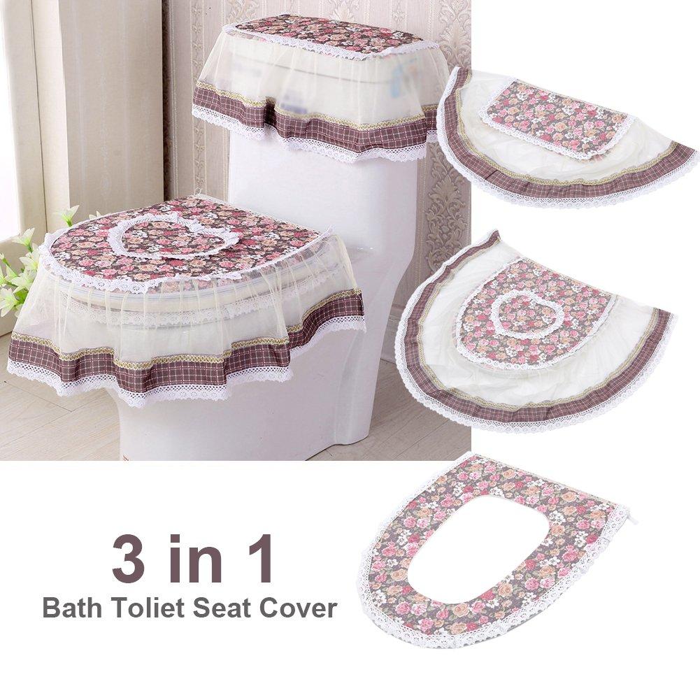 Red Zerodis 3pcs//Set da Bagno WC Set di Morbido Comfort Cashmere Pizzo Floreale Serbatoio dell Acqua Copertura per copriwater WC Anello con Cerniera Floral