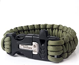Kits Bei wang Survival Paracord Bracelet de feu de silex Starter Scraper Whistle engrenages-vert