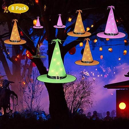 Set of 3 Lighted Purple Witches Hats Indoor Outdoor Lighting Halloween Decor