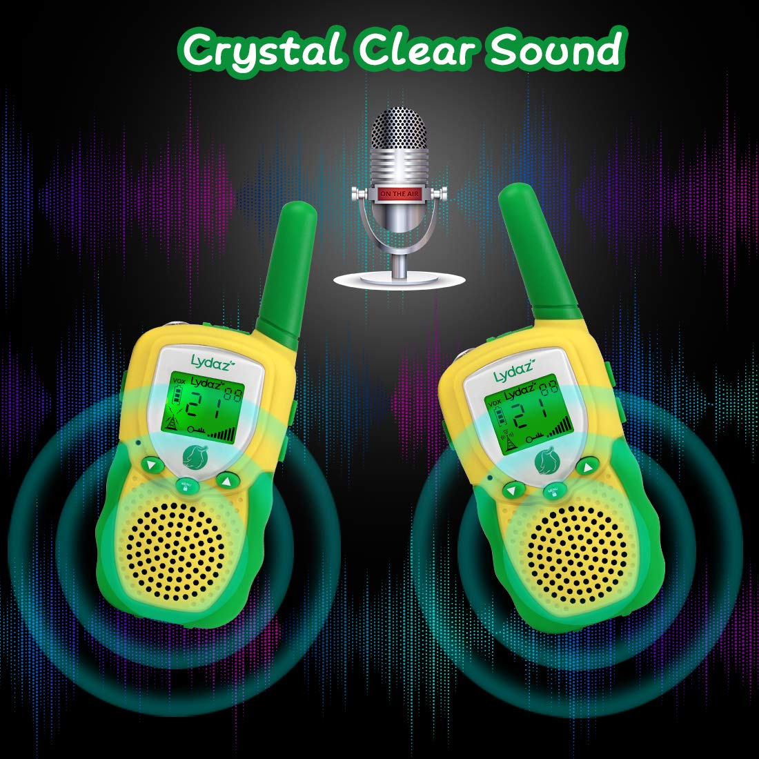 Lydaz Walkie Talkies for Kids with 2'' Backlit LCD Flashlight - 22 Channels 2 Way Radios 3 Miles Range Long Distance - Toys for Boys Girls Outdoor Adventures Hiking Camping - 2 Pack by Lydaz (Image #2)