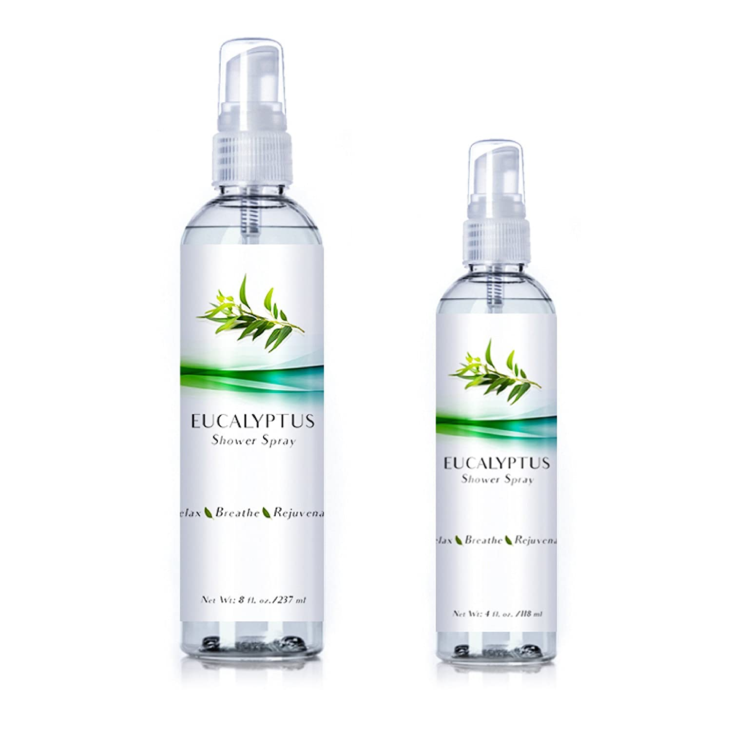 New Eucalyptus Oil Shower Spray, Highest Quality Essential Oil Spray for Showers, Steam Rooms and Sauna | Two Pack for Home and Travel (Eucalyptus, 4oz/8oz)