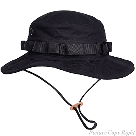 Boonie Hat Tactical Ripstop Headwear Bucket Hat with Map Pocket Chin Strap  for Wargame Sports Hunting c0fb3bf84d1d