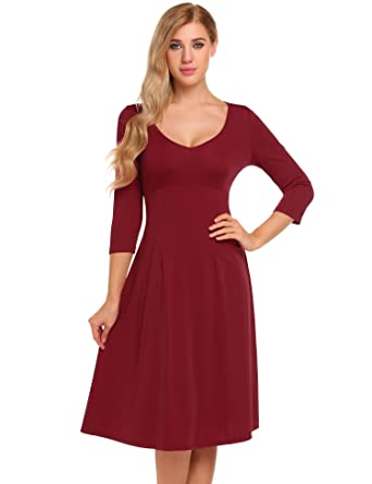 02ec1935c30 Zeagoo Damenkleider Herbst Skater Kleid Jerseykleid Langarm Knielang  Rundhals 3 4-Arm Fattern Stretch Basic Freizeitkleid Schwarz Rot Blau   Amazon.de  ...