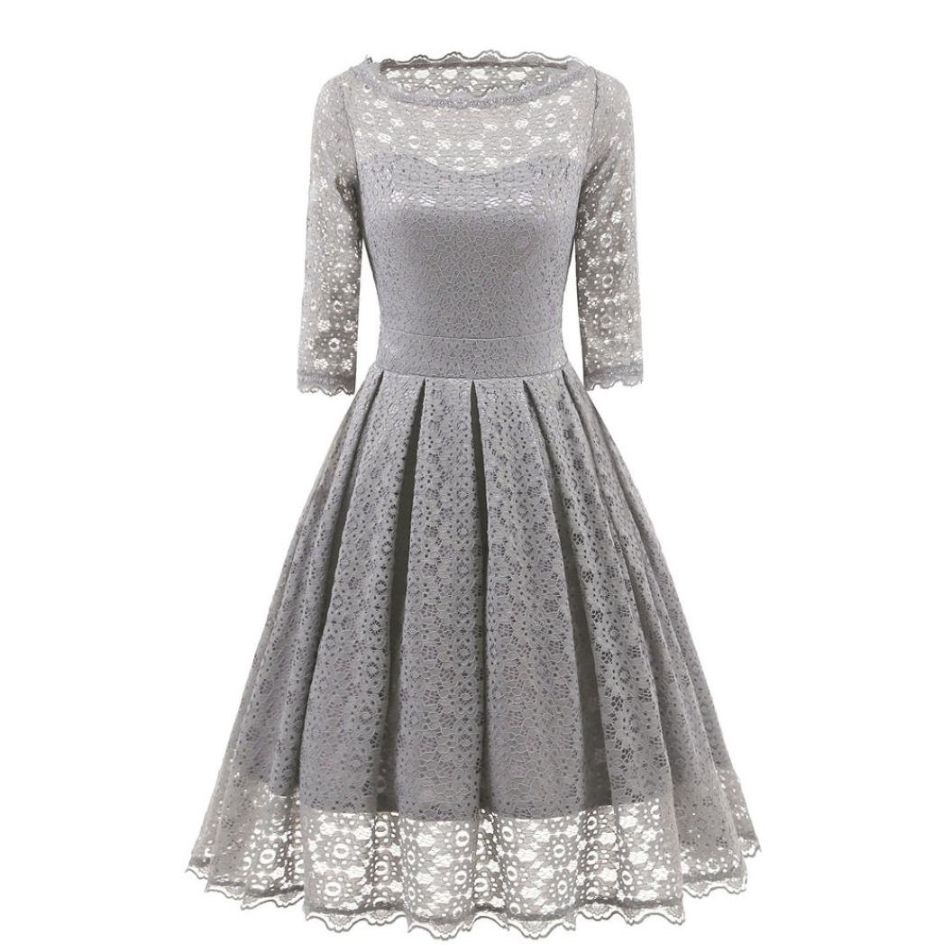 Women Floral Lace Dress Vintage Round Neck Short Sleeves Bridesmaid Party Cocktail Prom Dress (XXL, Gray)