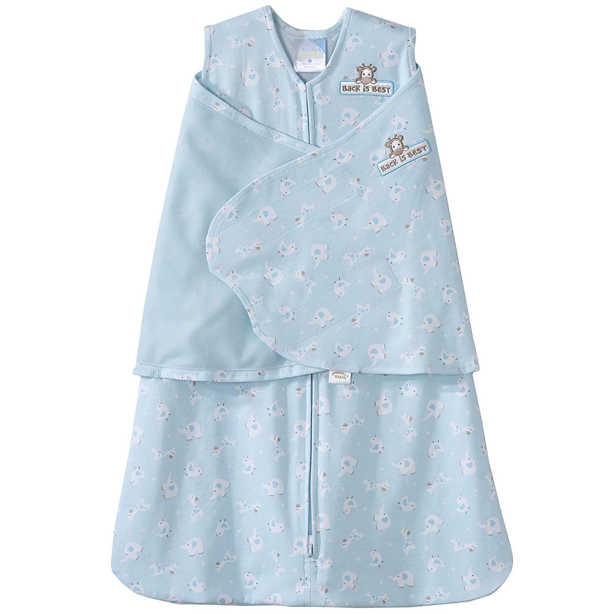 HALO 100% Cotton Sleepsack Swaddle, Turquoise Animal Friends, Small by Halo