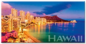 Panoramic Hawaiian Art Collectible Refrigerator Magnet - Waikiki Pink by Monica & Michael Sweet