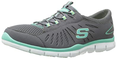 Skechers Womens Gratis Big Idea,Charcoal/Green,US 6 M