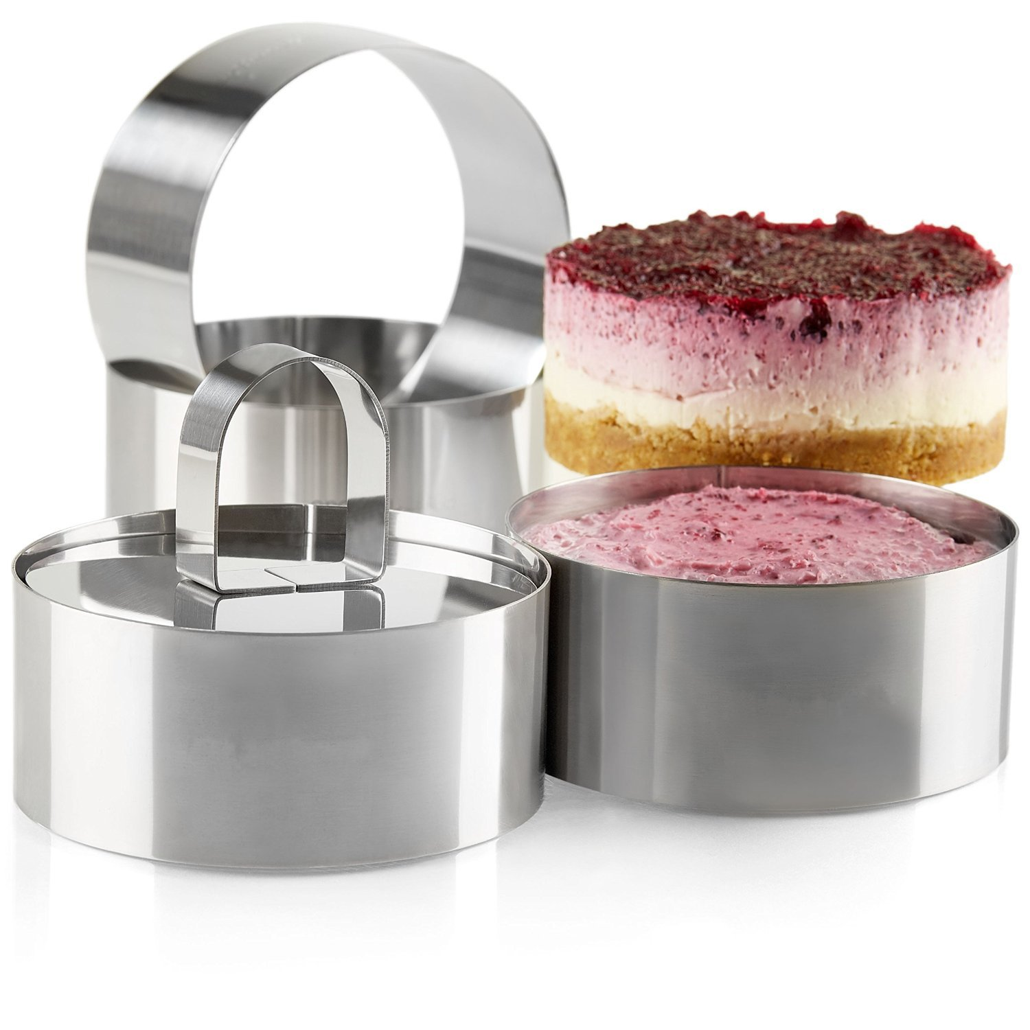 Uncle Jack Professional Stainless Steel Food Tower Presentation Cooking Rings with Food Press-Round Forms(set of 2)