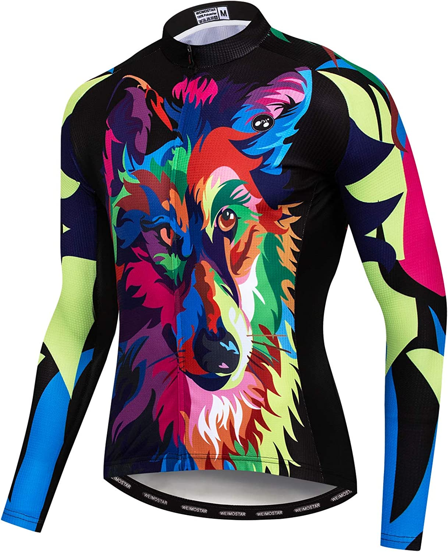 Mens Cycling Jersey Long Sleeve Pro Brand Team Reflective Bicycle Shirts Jacket Bird Skull