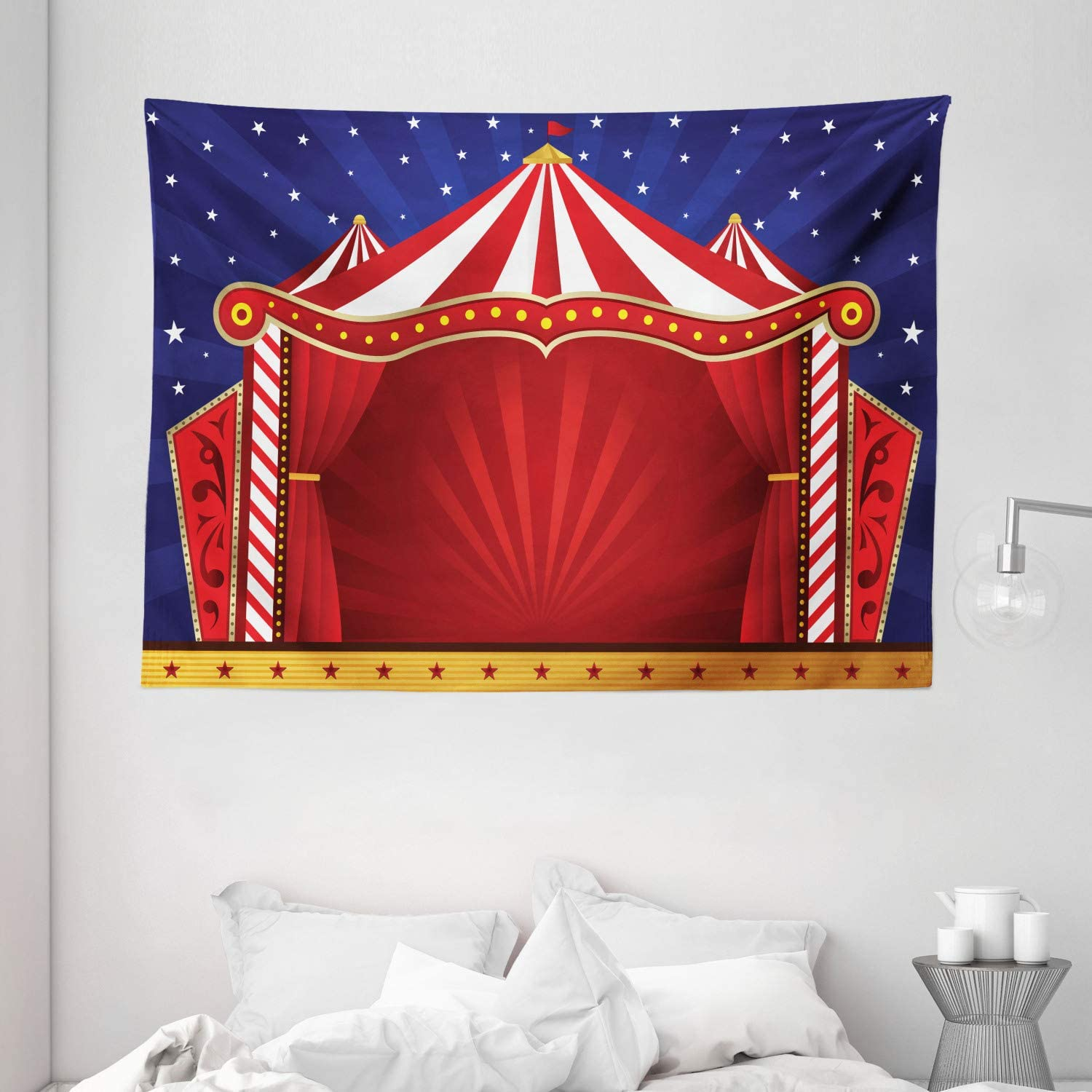 "Ambesonne Circus Tapestry, Canvas Tent Circus Stage Performing Theater Jokes Clown Cheerful Night Theme, Wide Wall Hanging for Bedroom Living Room Dorm, 80"" X 60"", Blue Vermilion"