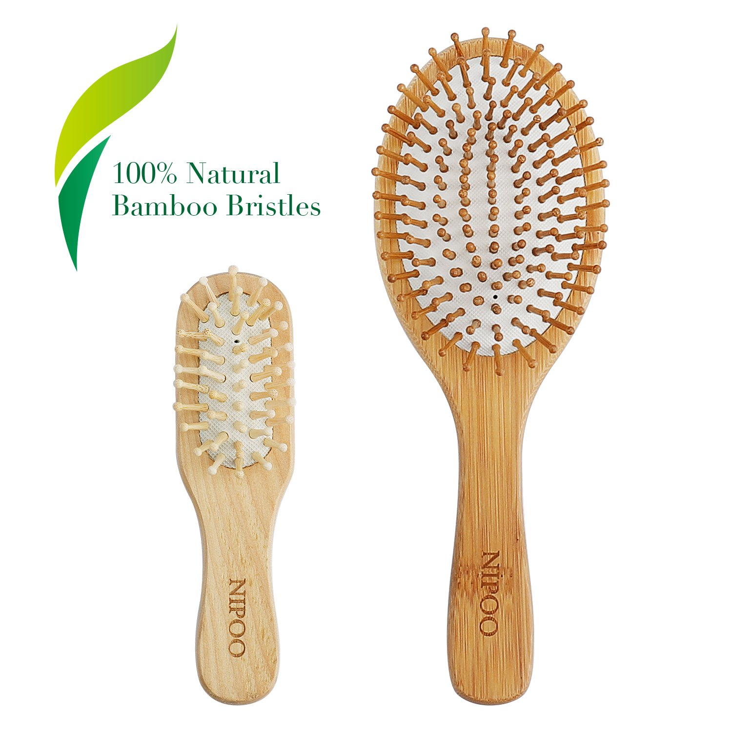 NIPOO Natural Wooden Paddle Hair Brush + Free Mini Travel Brush - Eco-Friendly Bamboo Bristle Detangling Hairbrush for Women Men and Kids - Reduce Frizz and Massage Scalp (9 inch)