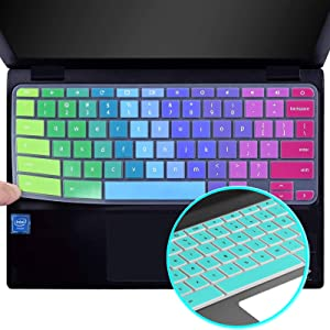 Lapogy[2pcs] Keyboard Cover Skin Compatible with acer chromebook Spin 11 cp311,R11 11.6 inch CB3-131/132,CB5-132T,CB3-131,R 13 Keyboard Cover,CB5-312T/571,Chromebook 15,CB3-531/532 C910,Rainbow+Mint