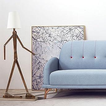 HROOME Moderne Design Stehlampe Holz Verstellbar Stehleuchte mit Stoff  Lampenschirm Weiß e27 Standleuchten Wohnzimmer Schlafzimmer Büro 160cm  (Teak)