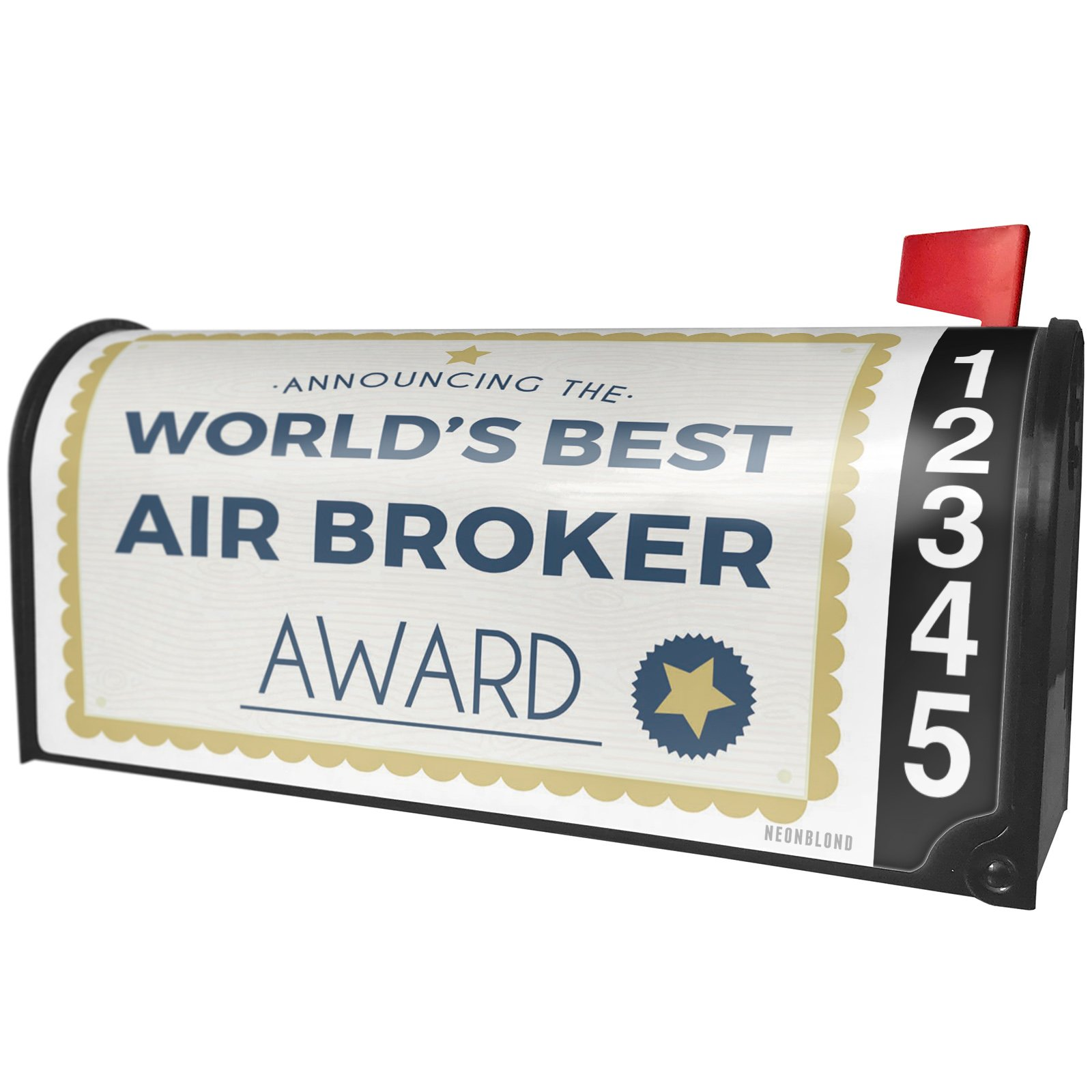 NEONBLOND Worlds Best Air Broker Certificate Award Magnetic Mailbox Cover Custom Numbers