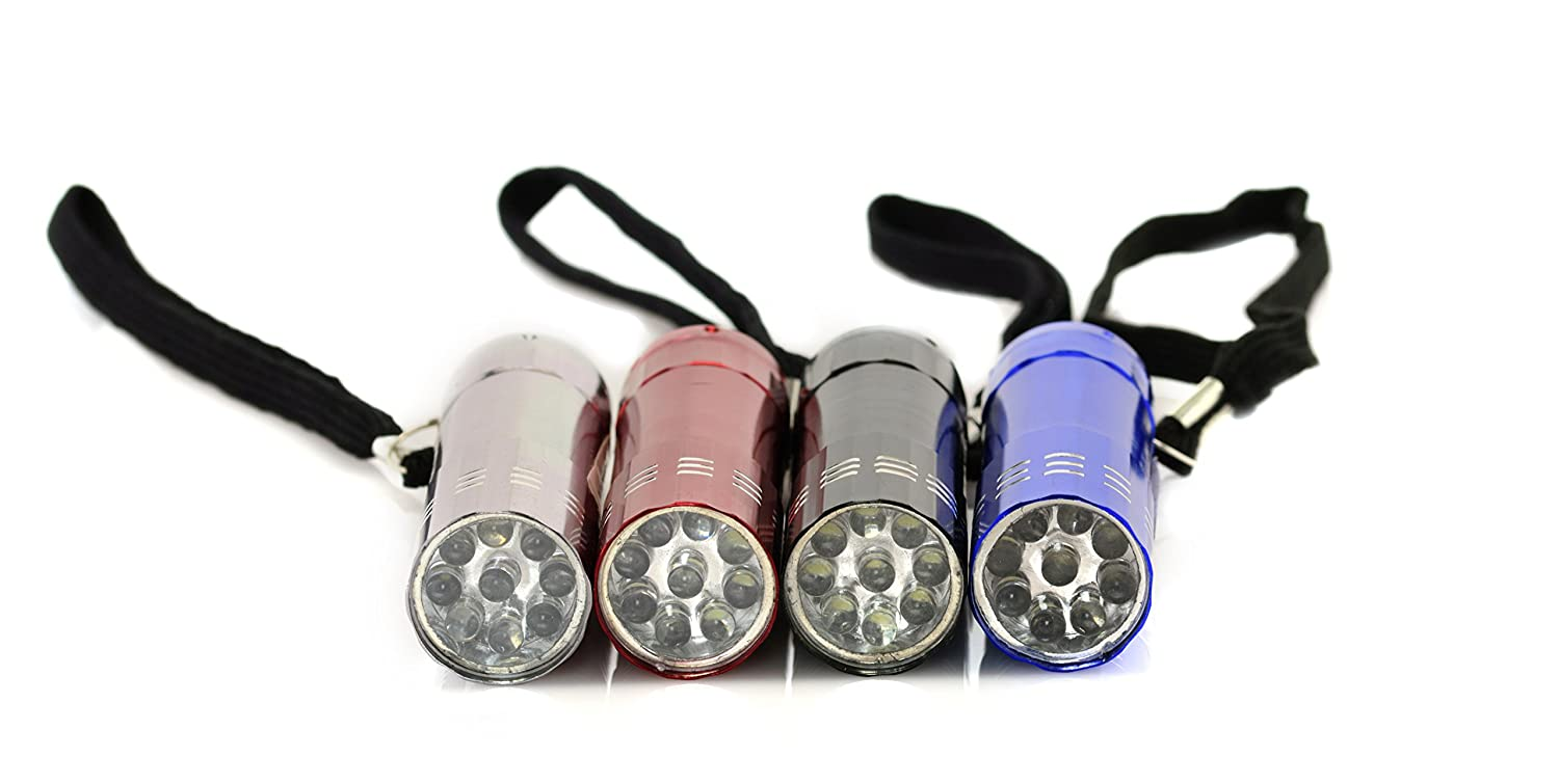 LumiBrite LED Flashlight 3 PackLeather Gripped Aluminum Casing 9 Energy Efficient Bright LEDs 3 Pack - Assorted Colors