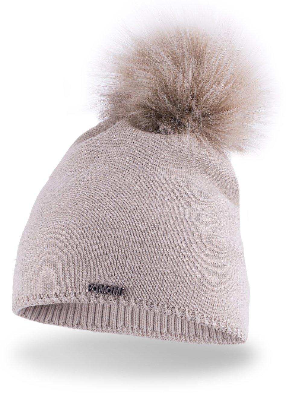 Slouch Beanie für Damen | PaMaMi® 17504 | warme Strickmütze mit Bommel | gestrickte Bommelmütze | Fellbommel Mütze für Winter | weiche Wintermütze | Farbenauswahl