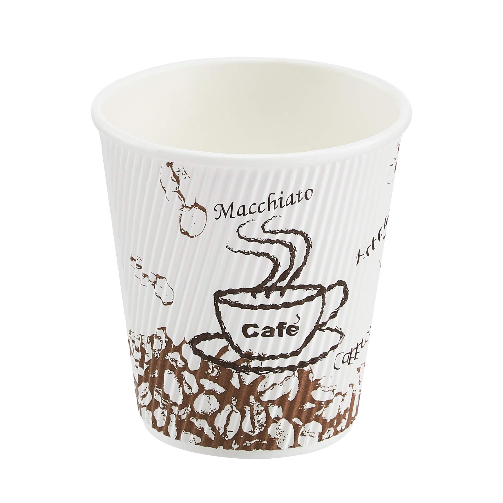Amazon Basics Insulated Ripple Wall Hot Cup, Café Design, 10 oz, 240-Count