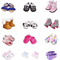 Etistta 6 Pairs of Shoes + 2 Pairs of Socks Fits for 18 inch Doll Shoes American Dolls Accessories 100% Get Panda or Unicorn Shoes and Boots or Skates