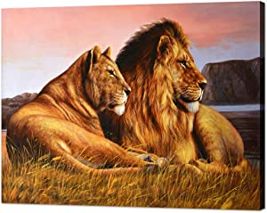 Modern Lion Pictures Wall Decor Vintage Wild Lion and Lioness Painting Artwork Cool Animal Lion Canvas Wall Art Easy to Hang for Living Room Office Decor - 30''Hx40''W