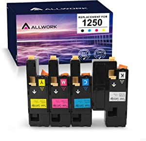 ALLWORK Compatible Dell 1250 810WH C5GC3 XMX5D WM2JC Toner Cartridges 4-Pack, use for Dell 1250c 1350cnw 1355cn 1355cnw c1760nw c1765nf c1765nfw (Black, Cyan, Magenta, Yellow)