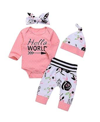 2f1ea67b534f Amazon.com  4Pcs Xmas Infant Baby Girl Floral Outfit Set Long Sleeve ...