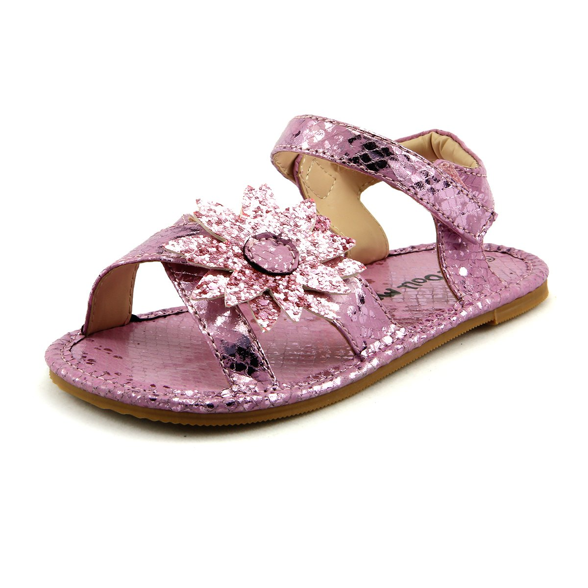 The Doll Maker Girls Brushed Croco Pink Sandal FBA1521025
