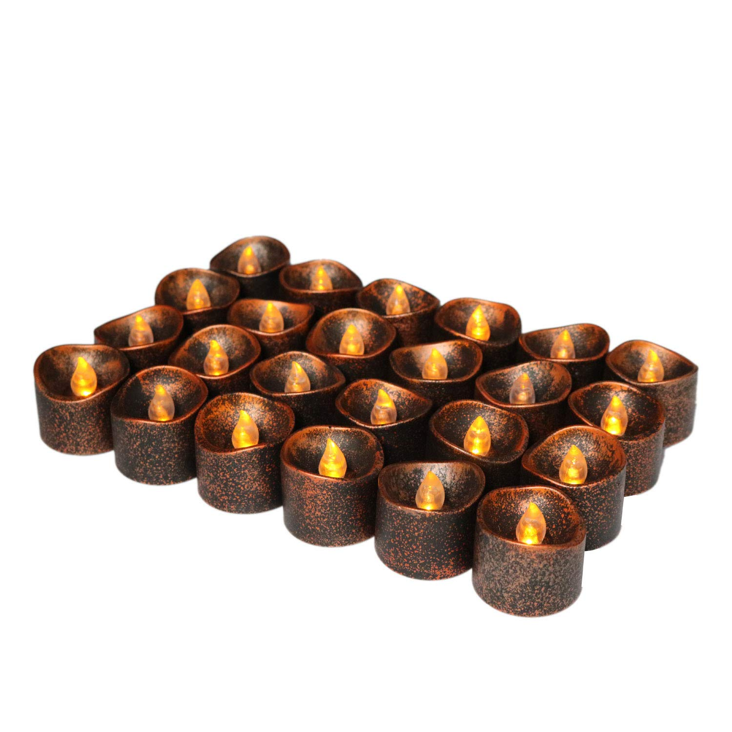 Cozeyat Black Tea Lights Battery Operated Flameless Led Candles Halloween Votives for Window Holiday Tree Decorations 24pcs (24 Wave Open)