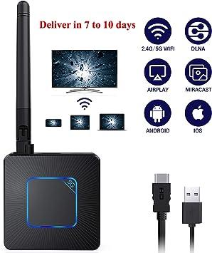 iOS Receptor de Video 4K HD WiFi Streaming para iPhone Windows Adaptador de dongle de Pantalla HDMI inal/ámbrico Monitor Proyector Mac OS a HDTV iPad PC Android Tablet