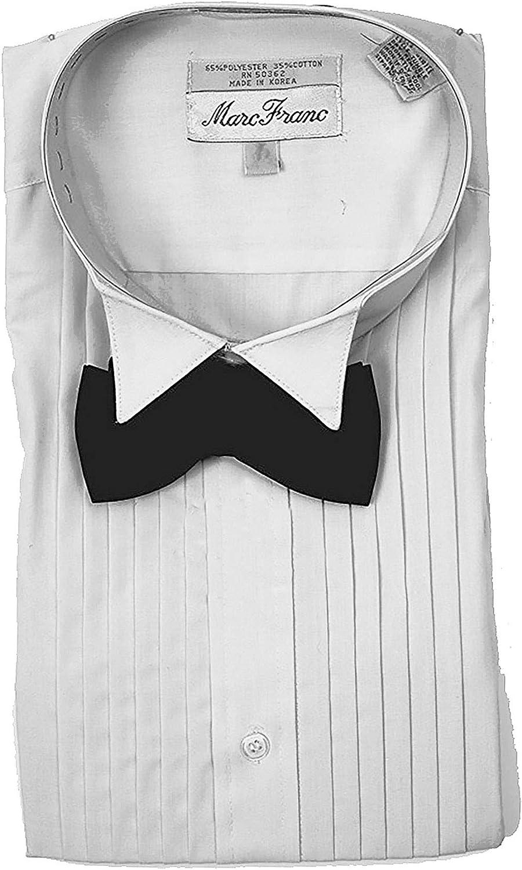 Marc Franc - Camisa de Esmoquin para Hombre, Color Blanco con Lazo Negro - Blanco - 42 cm Cuello, 86/89 cm Manga (Large): Amazon.es: Ropa y accesorios