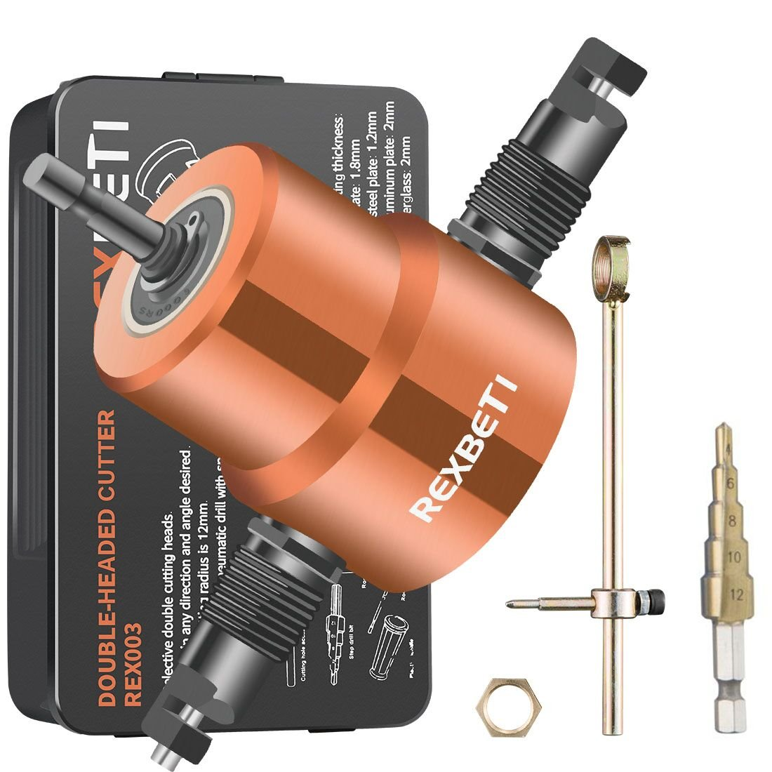 Double Headed Sheet Metal Nibbler 360 Degree, REXBETI Ultimate Metal Cutter for Straight Circle and Round Cutting, Burr-free Edge - Extra Punch and Die, 1 Cutting Hole Accessory and 1 Step Drill Bit
