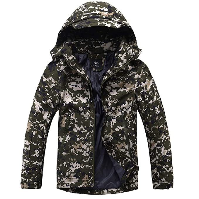 Amazon.com: WUYIMC Mens Coat Tops, Winter Fleece Liner Outerwear Hooded Softshell Tactical Jacket: Clothing