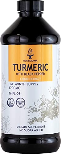 Turmeric Curcumin with Black Pepper Liquid Extract 16 FL OZ 1500mg Curcuma Longa Root Joint Support Pain Relief Anti-Inflammatory Antioxidant Liver Detox Memory Support Non-GMO