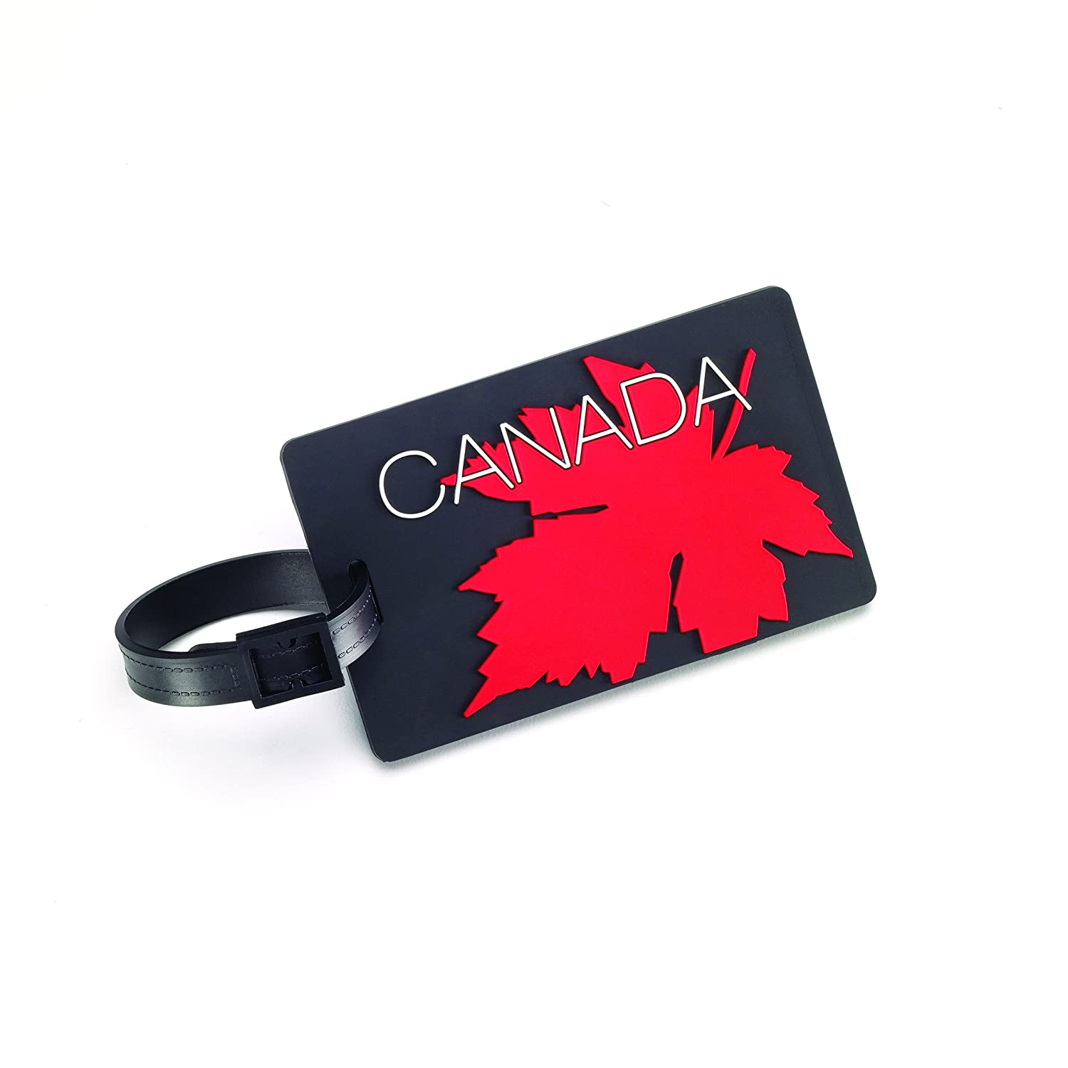 maple leaf ml1644cf canada flag luggage tag with security id