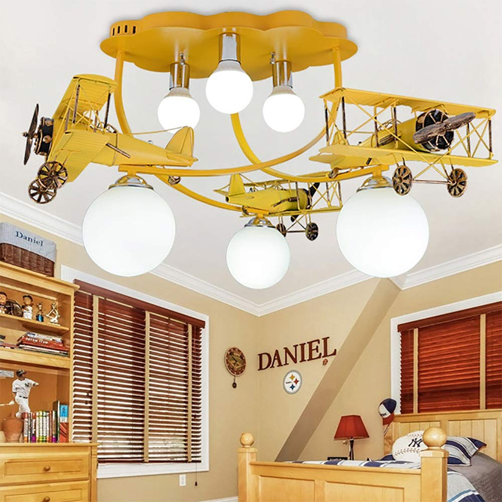 飛行機の照明子供部屋の照明少年のベッドルームの照明ベッドルームの照明漫画の子供の鉄の天井のライト (色 : Yellow Wooden)  Yellow Wooden B07J4WPTTB