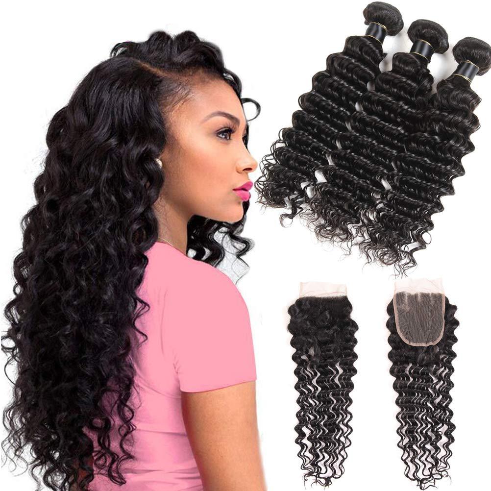 Miss Flower Human Hair Deep Wave Bundles With Closure(12 14 16+10 closure), Premium Peruvian Deep Curly Hair With Closure Unprocessed Human Hair Extensions Bundles And Closure Free Part by Miss Flower
