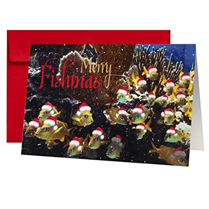 Amazon.com : Christmas Card Merry Fishmas - From all of Us by ...
