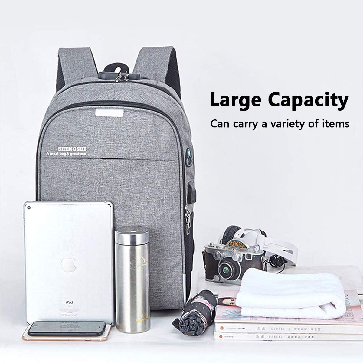 Black ASEOK Anti-Theft Backpack,Backpack with USB Charger Port /& Headphone Port /& Lock,Anti-Theft Water Resistant College School Computer Backpack Fits for Men//Women 15.6 Inch Laptop