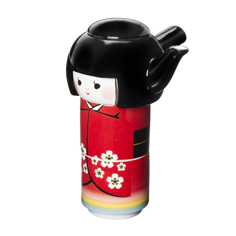 Tea for One Japanese Kokeshi Tea Pot and Tea Cup Set SAN2303 [interesting tableware series] San Art