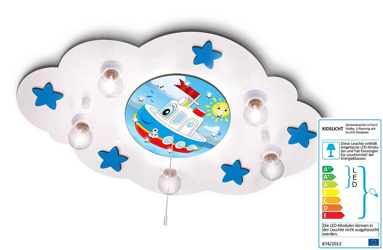 KIDSLICHT Kinderzimmerlampe Led Schlummerlicht Schiff und Sonne 024-WB-M24 Kinderlampe Babylampe Lampe Babyzimmer