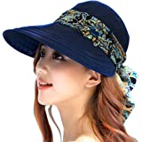 Womens Travel Floppy Hat Wide Brim Sun Visor Hat with Flap Camping Fishing Cycling Gardening Sun Hat All-around Sun Protection with Detachable Neck Protector Scarf UPF 50+ Anti-UV Summer Beach Hat