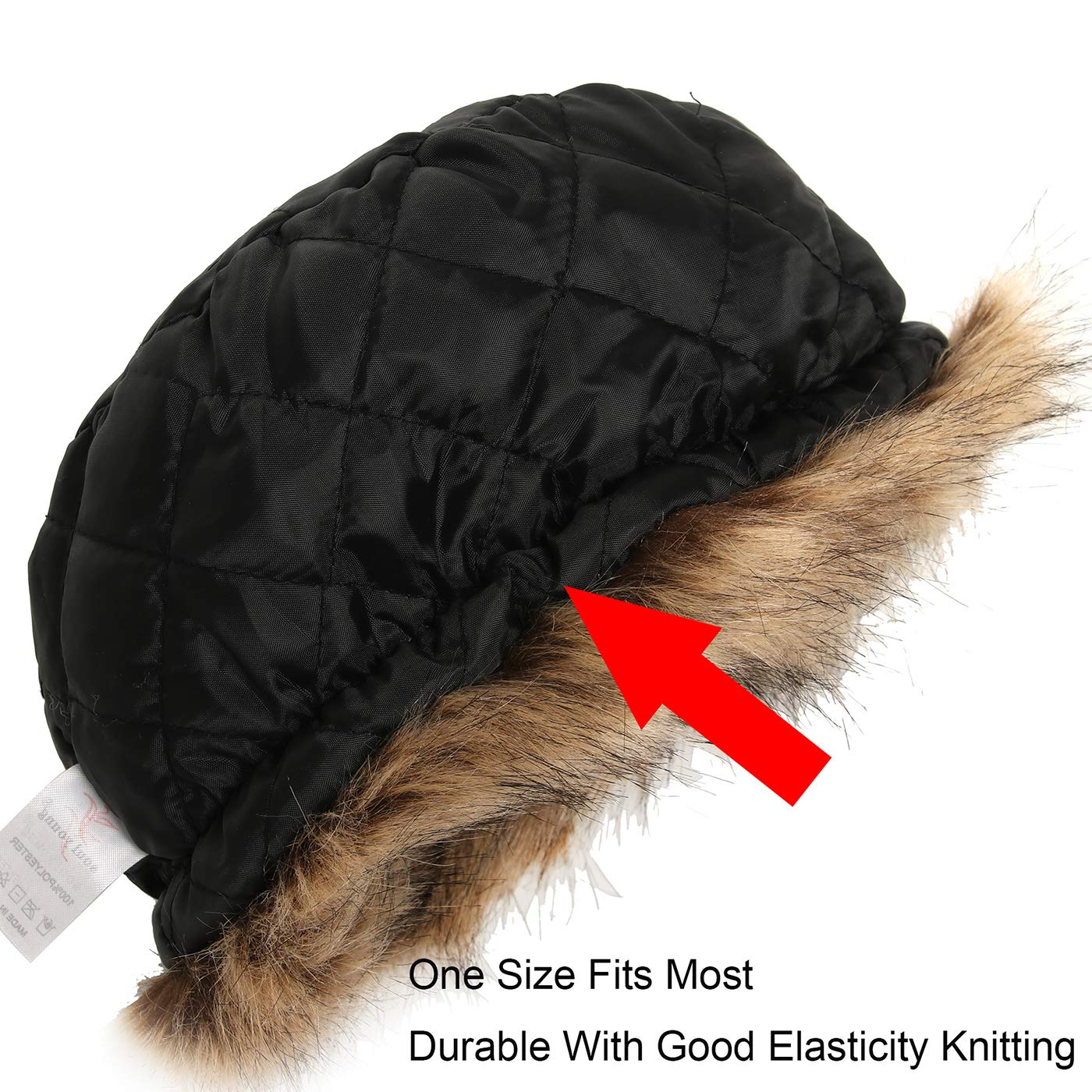 3637e4646b0 ... La Carrie Womens Faux Fur Hat for Winter with Stretch Cossack Russion  Style White Warm Cap ...